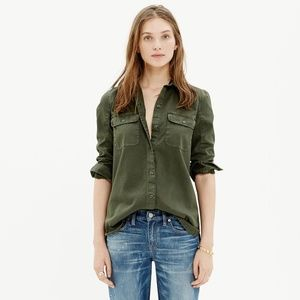 Madewell Tomboy Work Button Up Shirt Olive Green